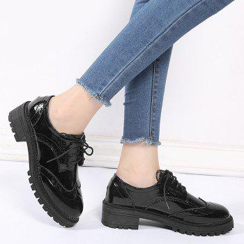 Lace Up Patent Leather Wingtip Flat Shoes - BLACK BLACK