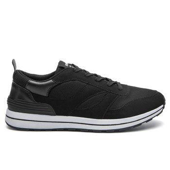 Color Block Low Top Mesh Athletic Shoes - BLACK BLACK