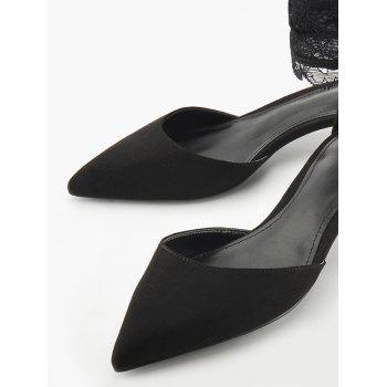 Two Pieces Ankle Strap Pointed Toe Sandals - BLACK BLACK