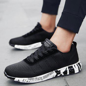 Breathable Mesh Letter Sneakers - BLACK BLACK