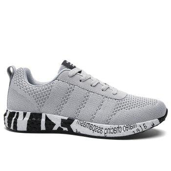 Breathable Mesh Letter Sneakers - GRAY GRAY