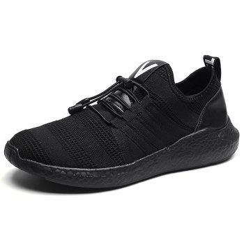 Mesh Tie Up Athletic Shoes - BLACK BLACK
