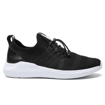 Mesh Tie Up Athletic Shoes - BLACK WHITE BLACK WHITE