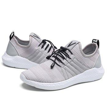 Mesh Tie Up Athletic Shoes - GRAY GRAY