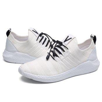 Mesh Tie Up Athletic Shoes - WHITE WHITE
