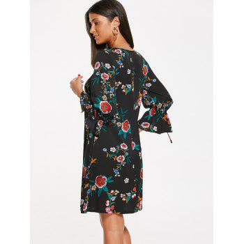 Flower Leaf Print Shift Mini-robe - [