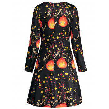 Halloween Fire Print Long Sleeve Tunic Dress - BLACK 2XL