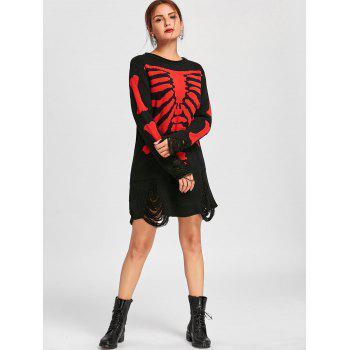 Halloween Skeleton Distressed Jumper Dress - BLACK RED XL