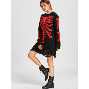 Halloween Skeleton Distressed Jumper Dress - BLACK RED L