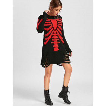Halloween Skeleton Distressed Jumper Dress - BLACK RED M