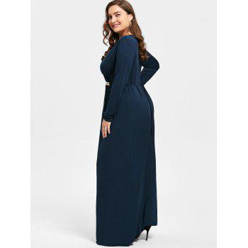Plus Size Surplice Rhinestone Embellished Maxi Dress - DEEP BLUE DEEP BLUE