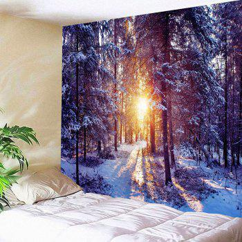 Morning Sunlight Snow Forest Patterned Wall Decor Tapestry - COLORFUL W79 INCH * L71 INCH
