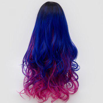 Long Side Parting Fluffy Layered Wavy Ombre Synthetic Party Wig -  ROSE RED / BLUE