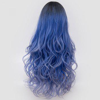 Long Side Parting Fluffy Layered Wavy Ombre Synthetic Party Wig -  LARKSPUR