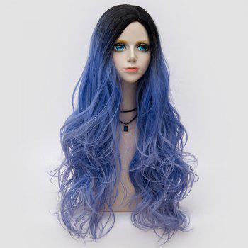 Long Side Parting Fluffy Layered Wavy Ombre Synthetic Party Wig - LARKSPUR LARKSPUR