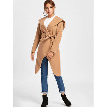 Hooded High Low Long Woolen Coat - KHAKI XL