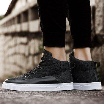 Manmade Leather Panel High Top Sneakers - BLACK 43
