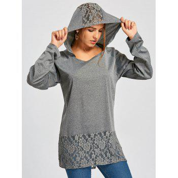Hooded Raglan Sleeve Lace Insert Tunic T-shirt - GREY/DARK GREY 2XL