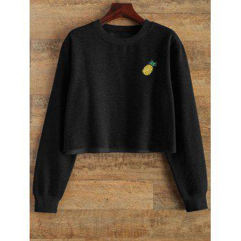 Raw Edge Cropped Sweatshirt - BLACK BLACK