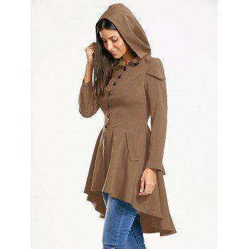 Layered Lace Up High Low Hooded Coat - KHAKI S