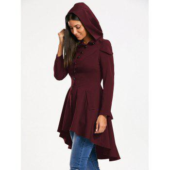Layered Lace Up High Low Hooded Coat - WINE RED M