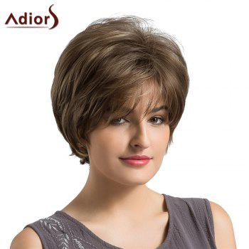 Adiors Short Side Fringe Fluffy Layered Elegant Straight Synthetic Wig -  BROWN