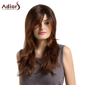 Adiors Long Side Parting Ombre Layered Slightly Curled Synthetic Wig -  BLACK/BROWN