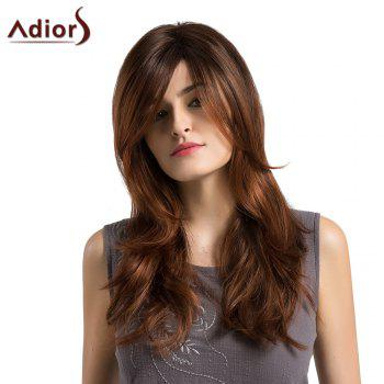 Adiors Long Side Parting Ombre Layered Slightly Curled Synthetic Wig - BLACK AND BROWN BLACK/BROWN