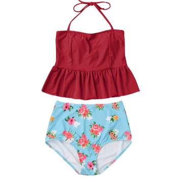 Peplum High Waisted Floral Tankini Set - RED 2XL