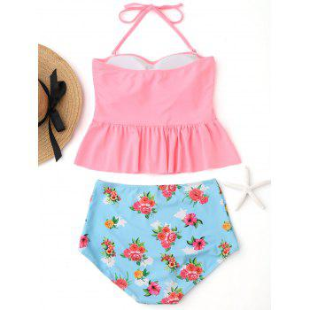 Peplum High Waisted Floral Tankini Set - PINK L