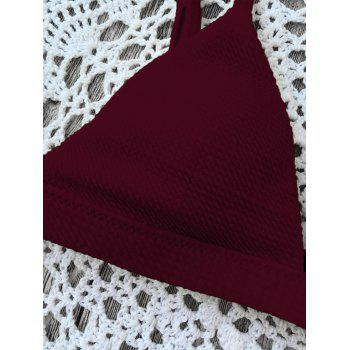 Spaghetti Strap High Cut Bikini Set - WINE RED XL