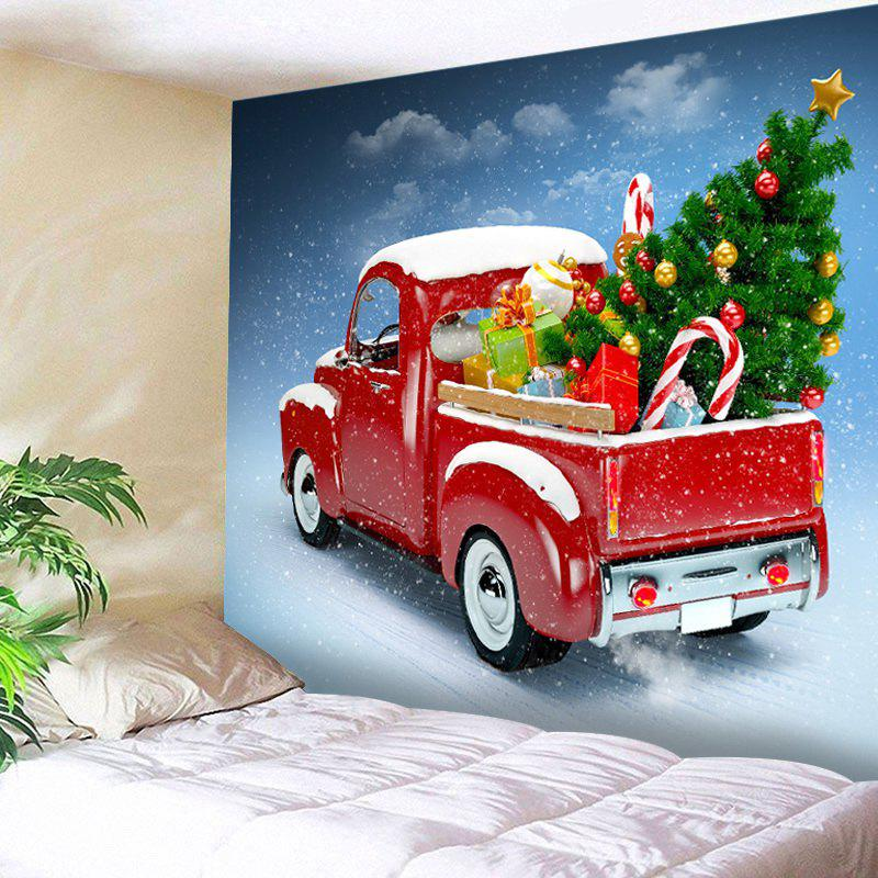 Car Christmas Tree Print Tapestry Wall Hanging Art - RED W91 INCH * L71 INCH