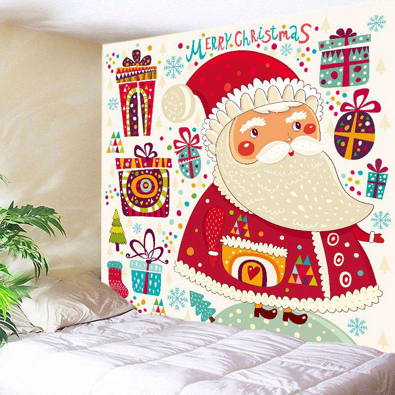Christmas Gifts Santa Print Tapestry Wall Hanging Art - RED W91 INCH * L71 INCH