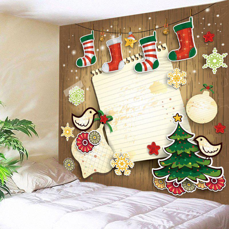 Christmas Stockings Print Tapestry Wall Hanging Art - COLORMIX W91 INCH * L71 INCH