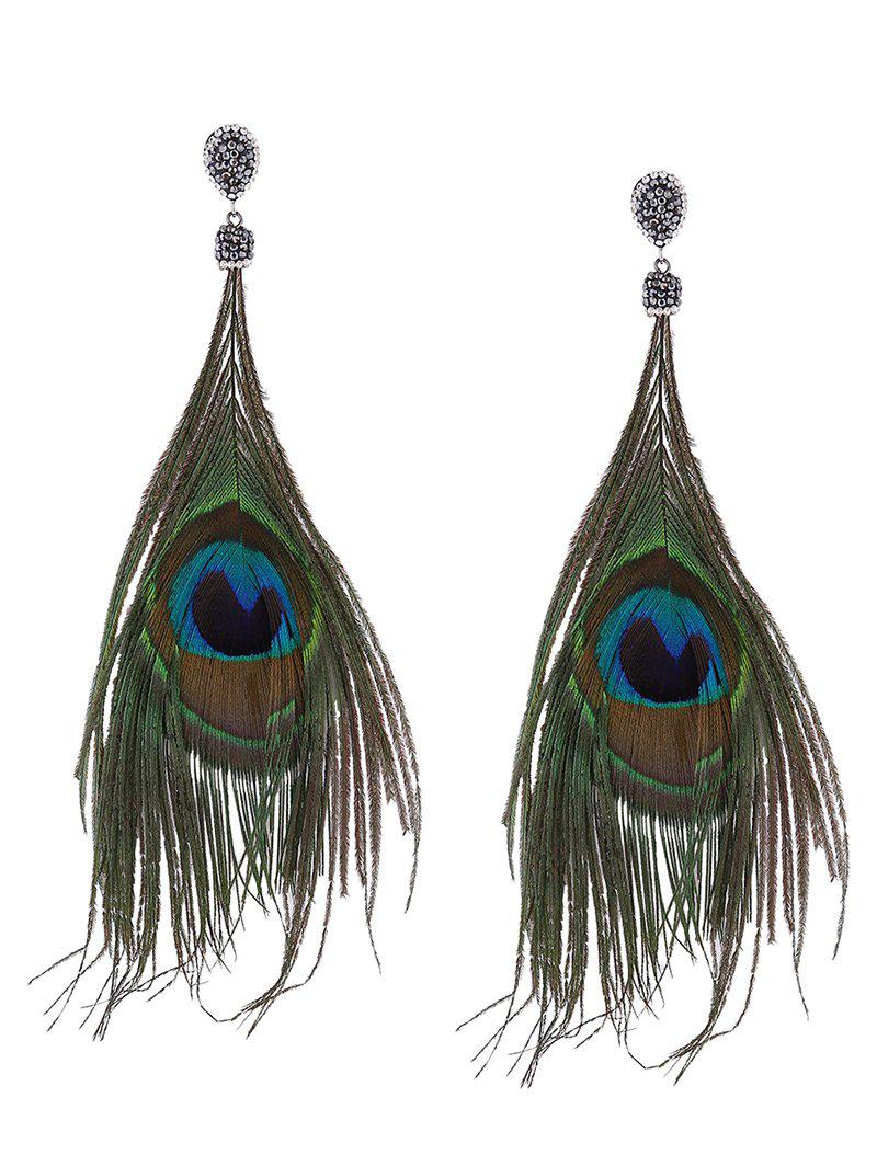 Statement Rhinestone Peacock Feather Earrings