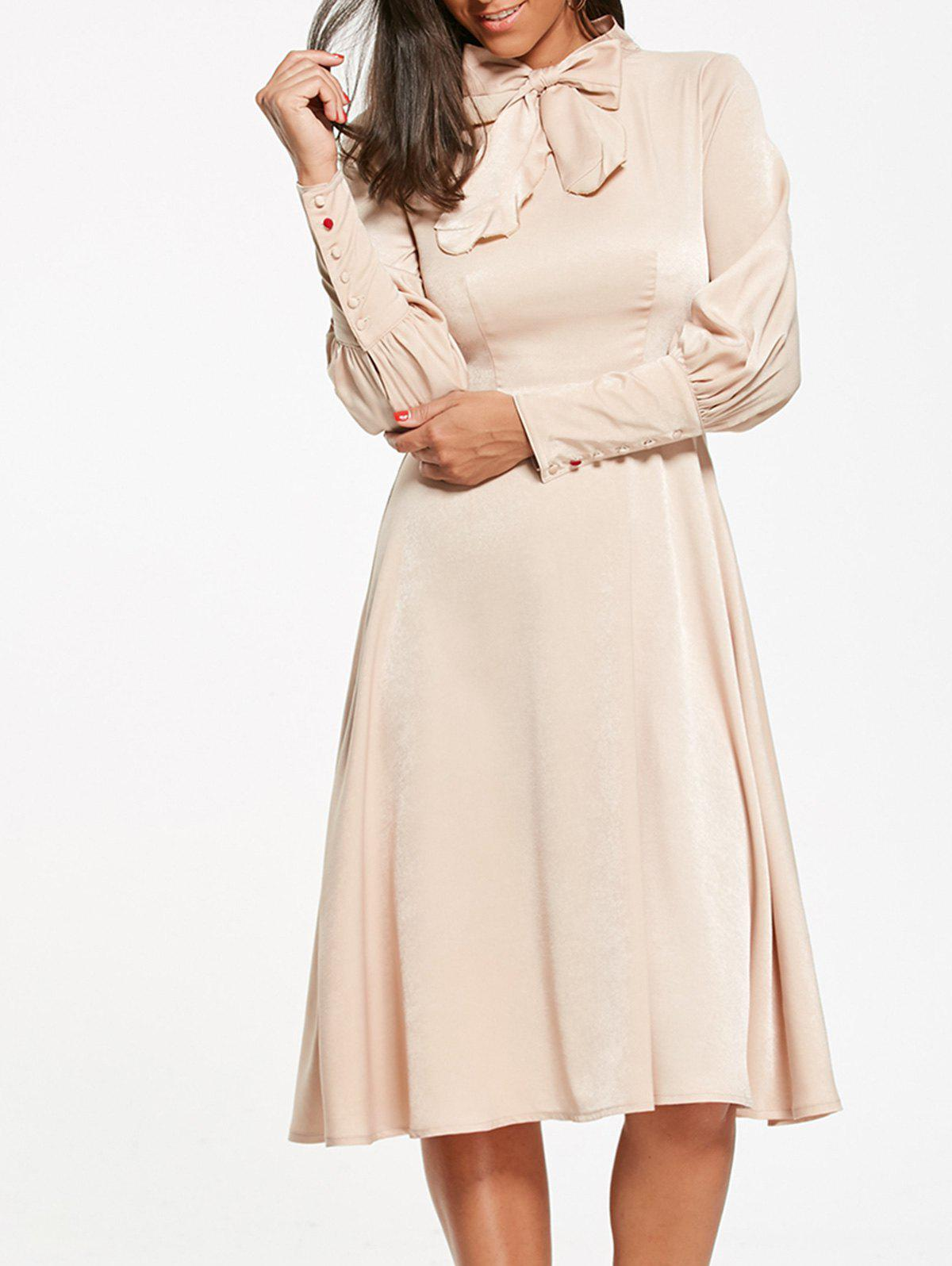Bow Tie Collar Cuff Sleeve Flare Dress - Beige Léger M