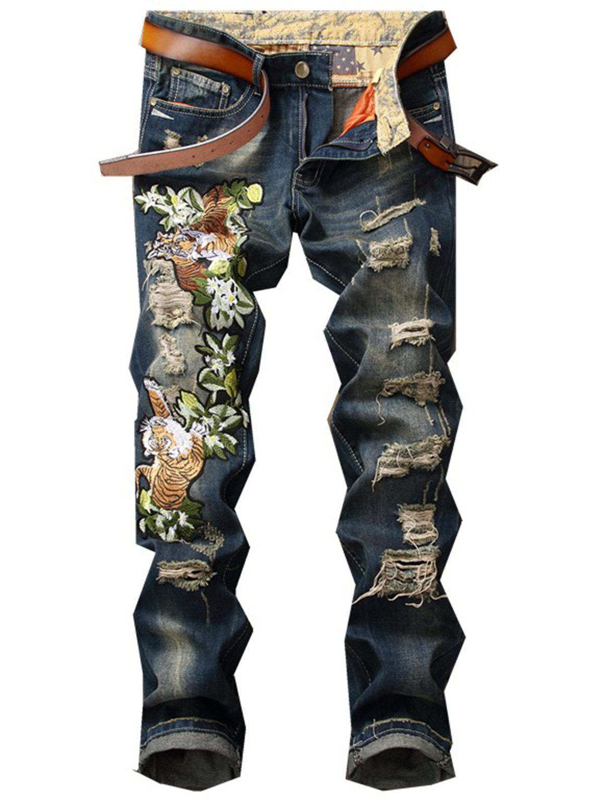 Tiger and Floral Embroidered Zipper Fly Ripped Jeans cartoon embroidered appliques pocket zipper fly ripped jeans