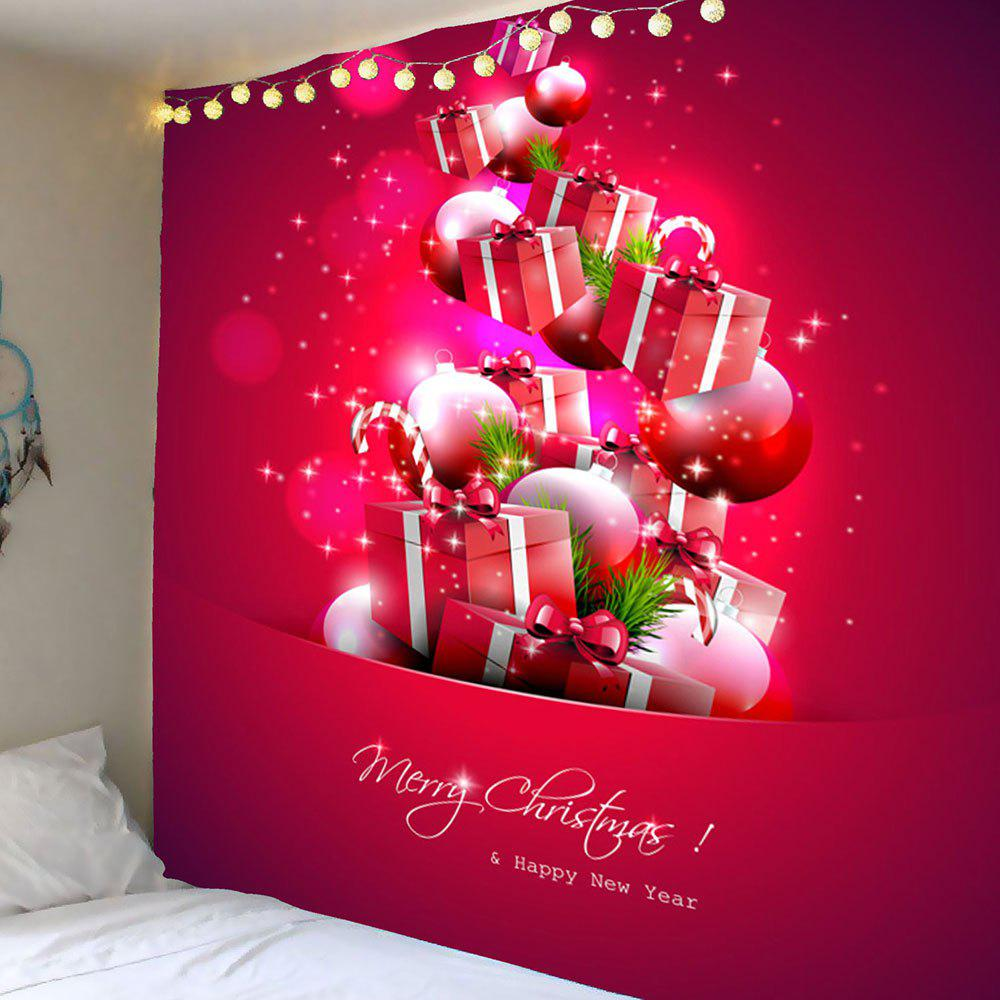 Christmas Present Pattern Wall Art Tapestry - RED W79 INCH * L71 INCH