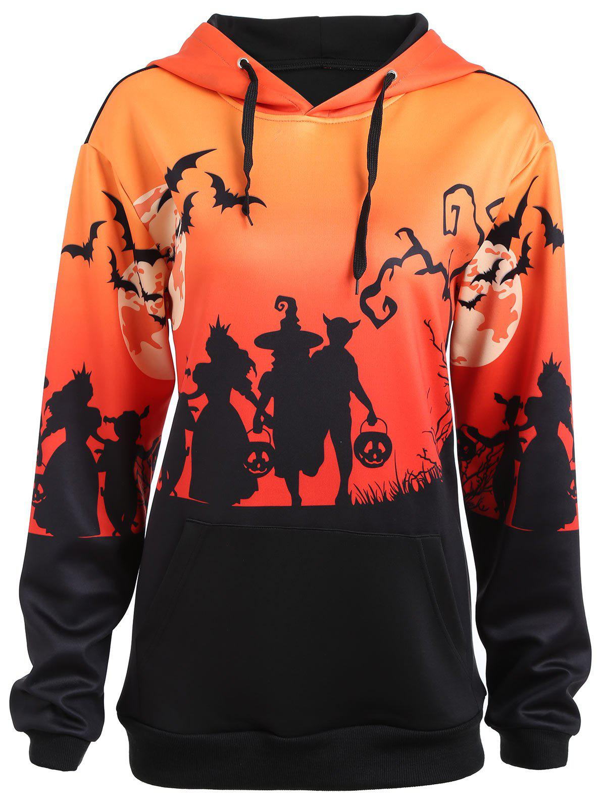 Plus Size Halloween Moon Bat Print Hoodie with Pocket plus size plain drop shoulder hoodie with pocket