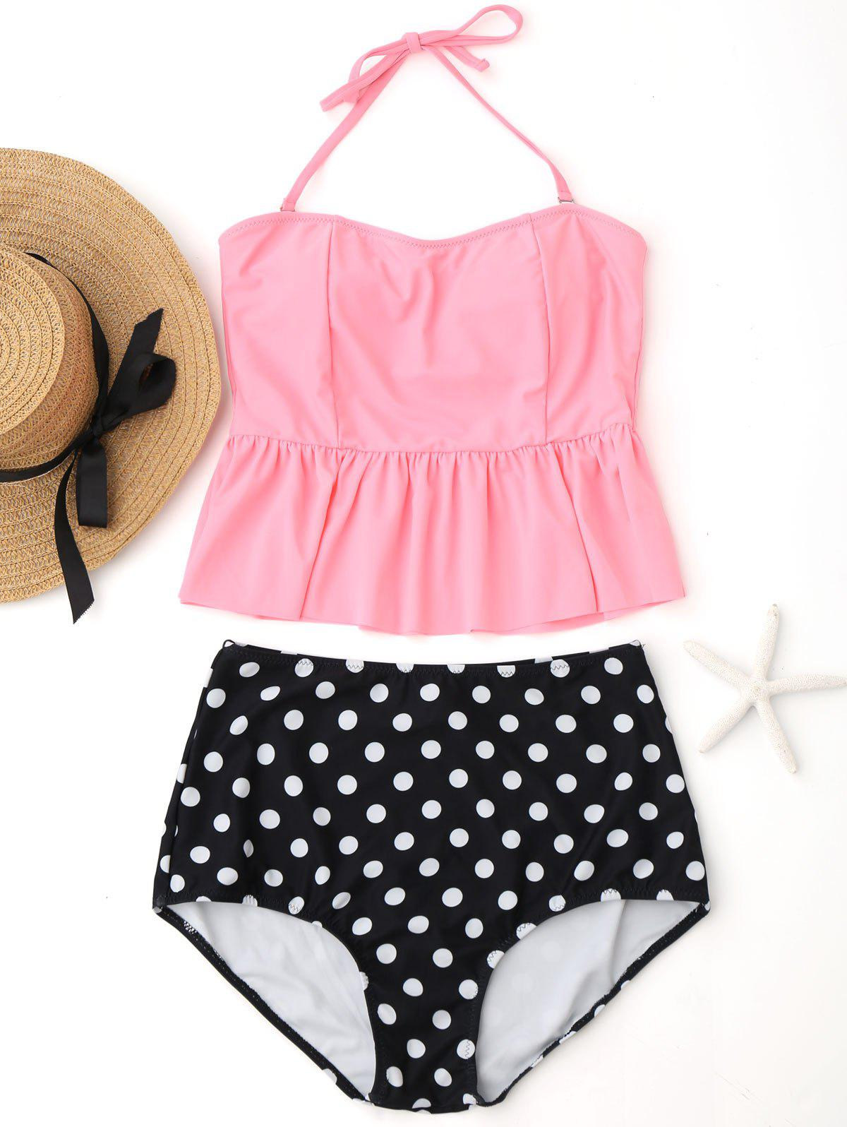 Peplum High Waisted Polka Dot Tankini Set - PINK M