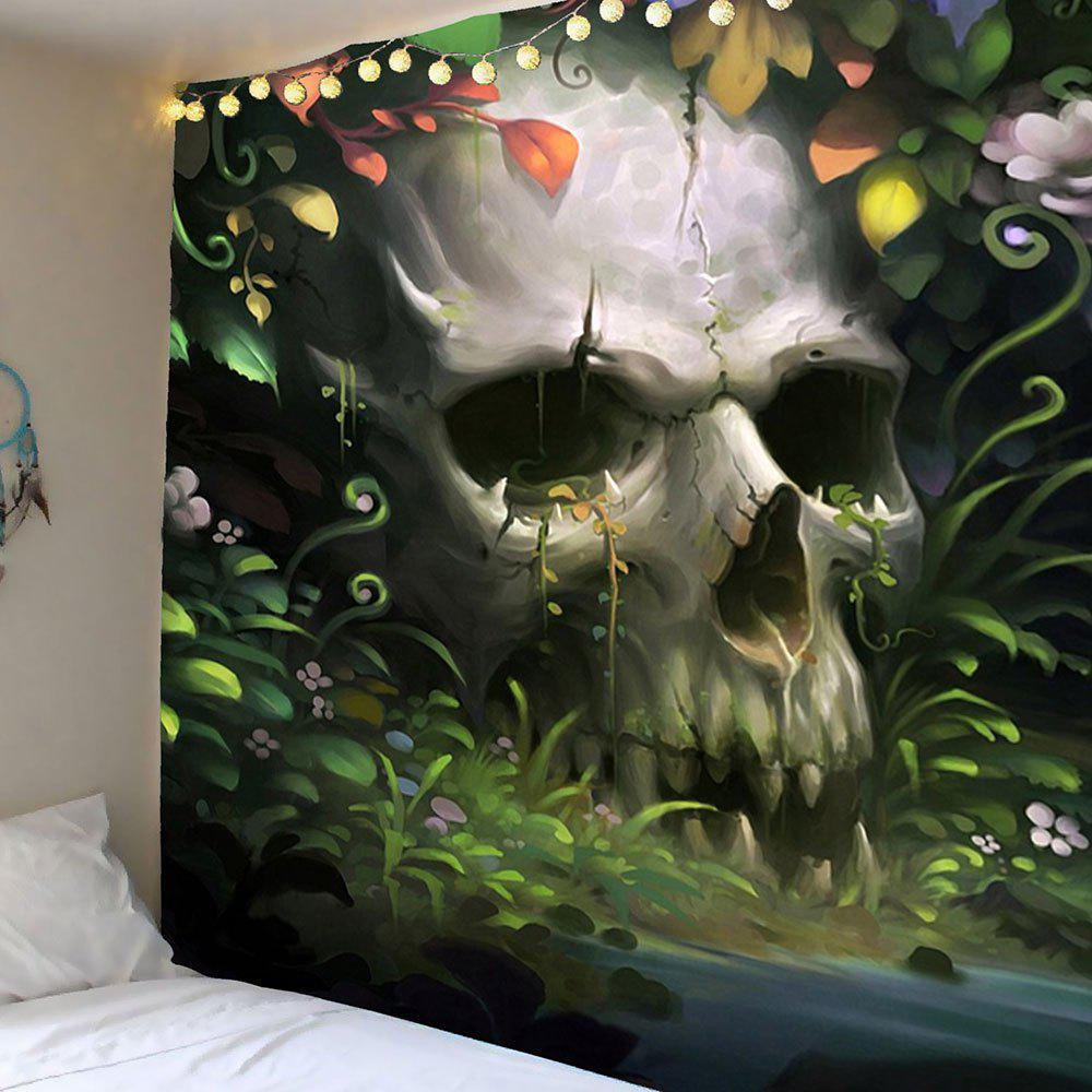 Halloween Floral Skulls Pattern Wall Art Tapestry - GREY/GREEN W79 INCH * L71 INCH