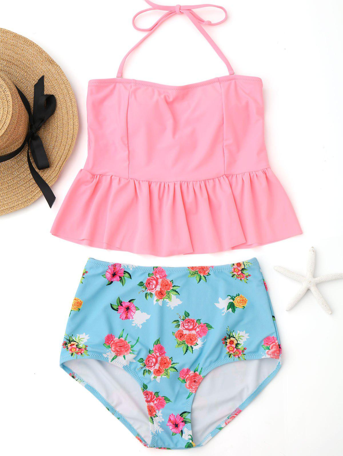 Peplum High Waisted Floral Tankini Set - PINK XL