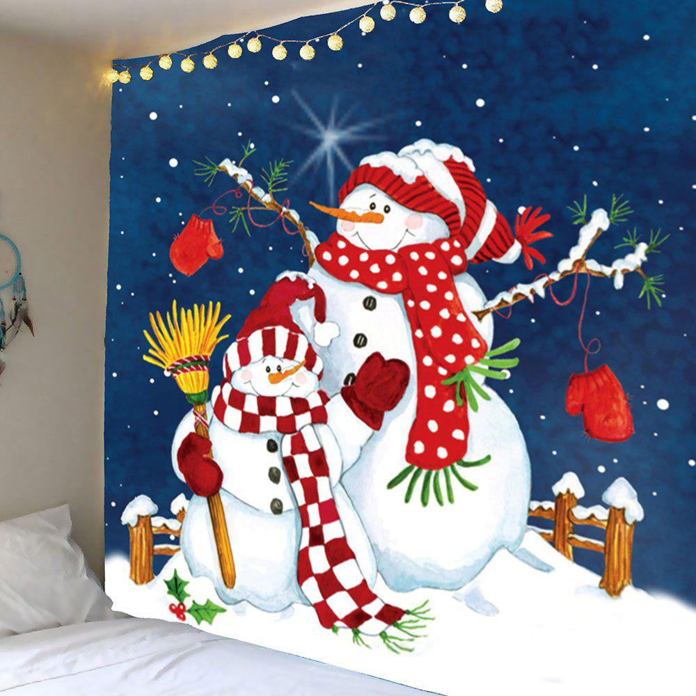 Christmas Snowman Printed Waterproof Wall Tapestry christmas tree snowman printed wall tapestry