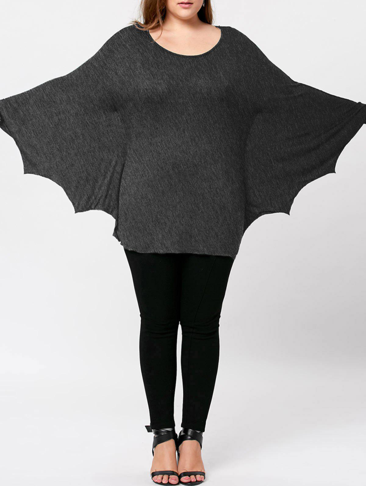 Plus Size Halloween Batwing T-shirt - MOUSE GREY XL