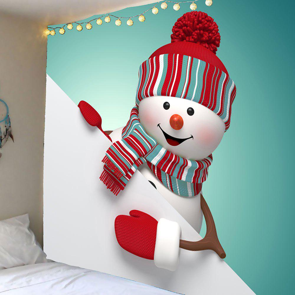 Cute Christmas Snowman Pattern Waterproof Wall Tapestry - COLORFUL W79 INCH * L71 INCH