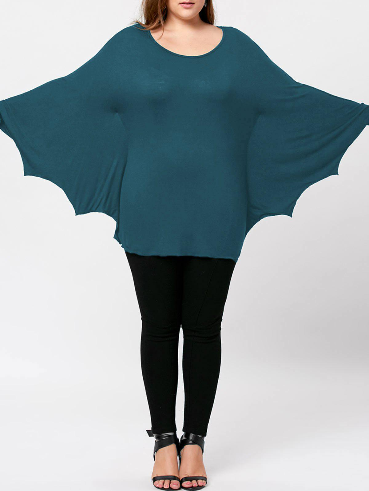Plus Size Halloween Batwing T-shirt - WATER BLUE 2XL