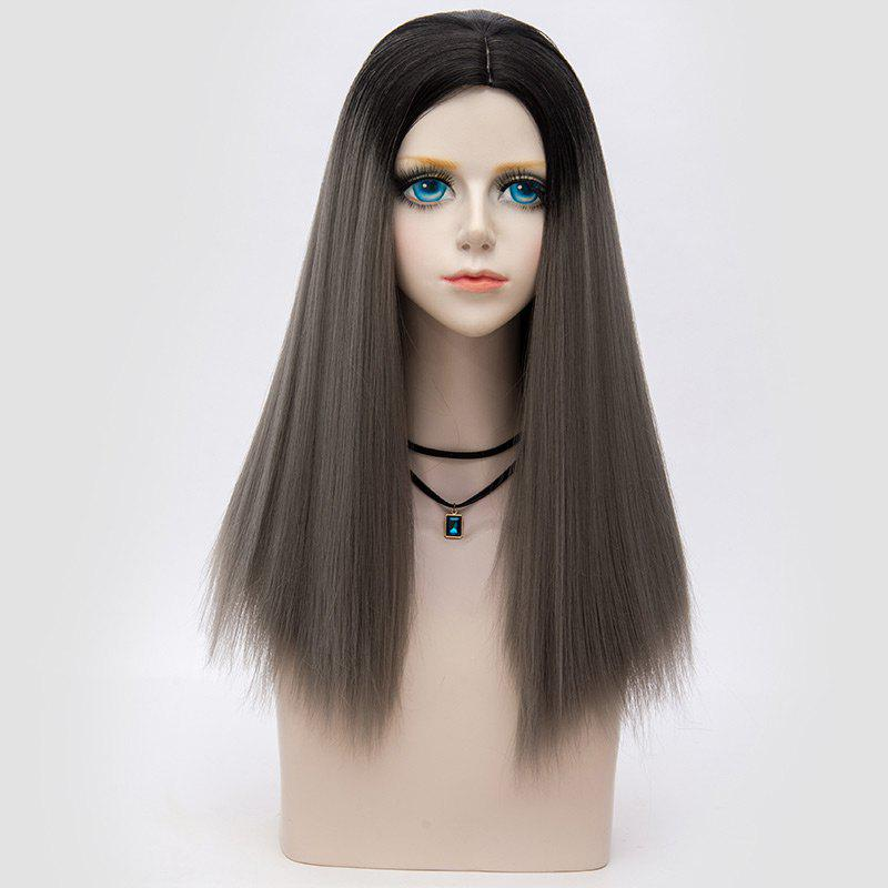Middle Part Fluffy Ombre Long Straight Synthetic Party Wig - DARK DEEP GREY OMBRE