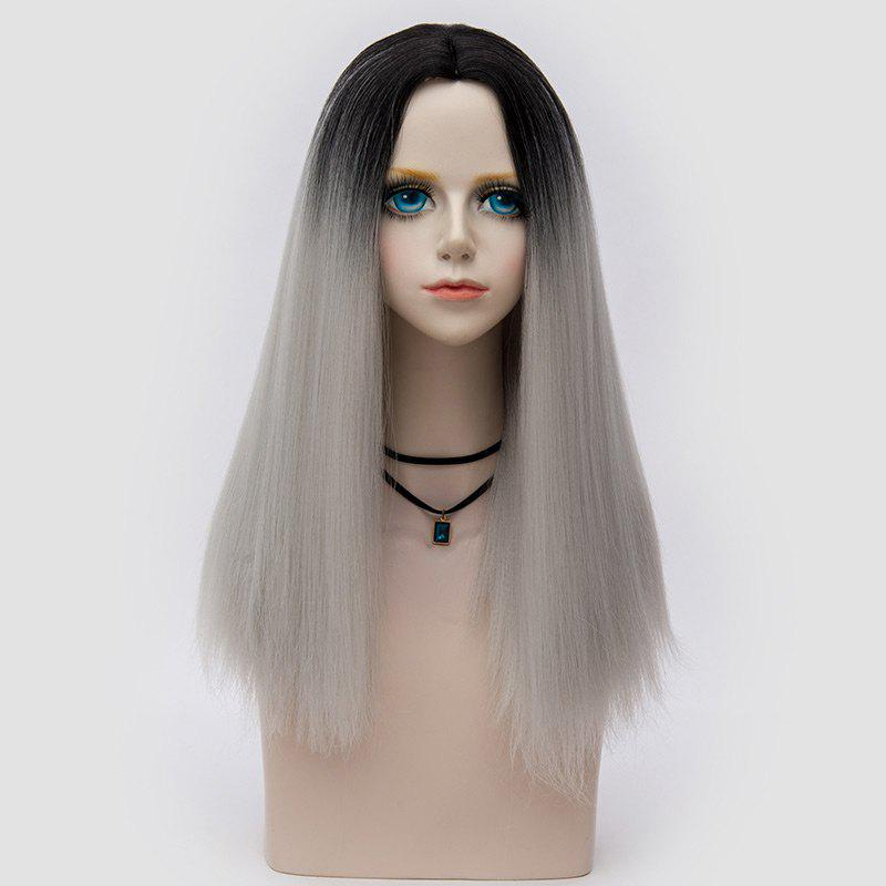 Middle Part Fluffy Ombre Long Straight Synthetic Party Wig - FROST