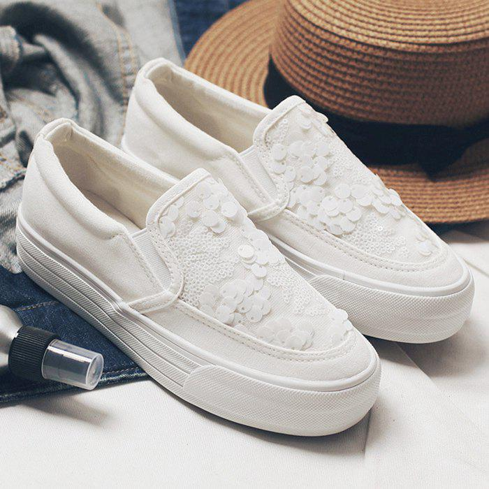 Sequins Gauze Canvas Slip On Sneakers - WHITE 36