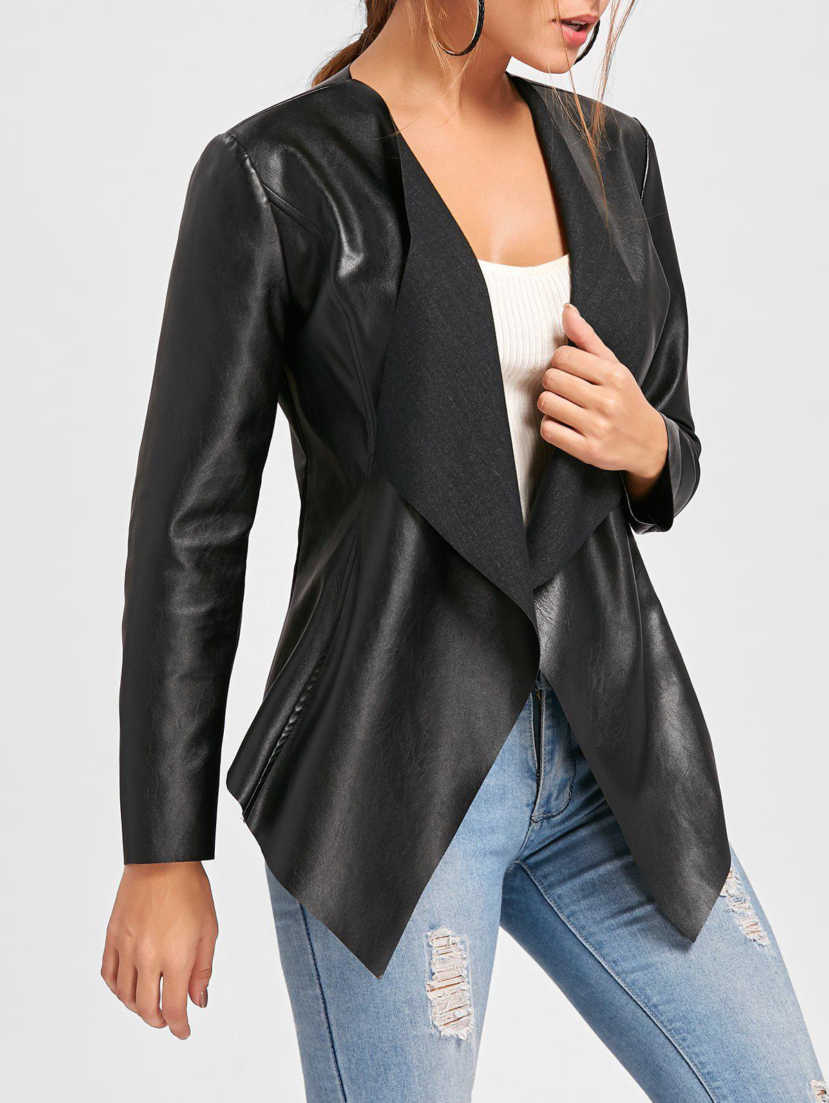 Buy Oasis Women's Black Leather Waterfall Jacket. Similar products also available. SALE now on!